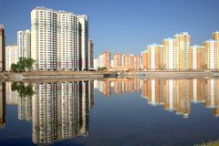 New buildings over blue clear cloudless sky royalty free stock images