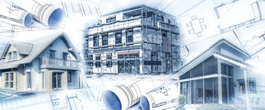 New buildings with a shell and blueprints Stock Images