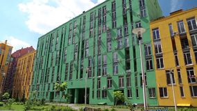 New buildings with varicoloured facades. New buildings with many-coloured facades stock video