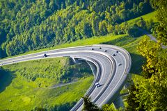 New built highway bridge in Bavaria, Germany stock images