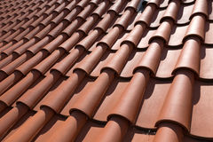 Roof tiles background texture in regular rows Royalty Free Stock Images