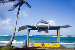 New bus stop on main road Sally Peachie Corn Island Nicaragua Ce. New bus stop with stingray on main road Sally Peachie Corn Island Nicaragua Central America on Royalty Free Stock Photos