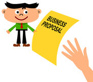 New business. A cartoon business man giving a business proposal to a giant hand Royalty Free Stock Photo