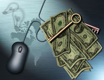 New Business. Internet, money and ideas, keys to the worl Stock Illustration