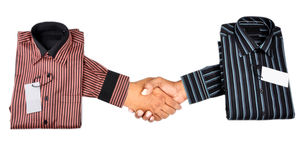 NEW BUSINESS AGREEMENT. Two hands shaking for new business agreement Royalty Free Stock Photo