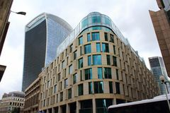 New business buildings City of London England United Kingdom. New business buildings at Eastchip Street and Fenchurch Street commercial skyscraper in the Stock Photo