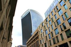 New business buildings City of London England United Kingdom. New business buildings at Eastchip Street and Fenchurch Street commercial skyscraper in the Royalty Free Stock Photography