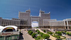 New business district timelapse hyperlapse from bridge in the capital of Kazakhstan in Astana. stock footage