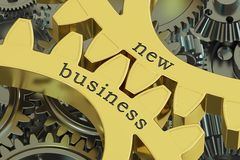 New Business on the gearwheels, 3D. New Business concept, 3D rendering vector illustration