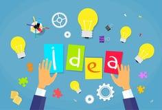New Business Idea Concept Businessman Hands Desk Stock Photos