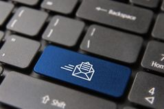 New business mail button on computer keyboard Royalty Free Stock Photos