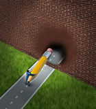 New Business Opportunities. Concept with a businessman on a blocked road holding a giant pencil erasing the brick wall obstacle with the eraser breaking through vector illustration