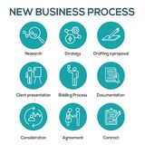 New Business Process Icon Set with Bidding Process, Proposal, Contract. New Business Process Icon Set w Bidding Process, Proposal, & Contract vector illustration