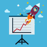 New Business Project Startup Concept Design with Rocket Stock Photo