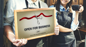 New Business Ribbon Cutting Celebration Event Concept Stock Photo