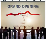 New Business Ribbon Cutting Celebration Event Concept. People Join New Business Ribbon Cutting Celebration Event Royalty Free Stock Image