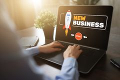 New business start up concept on screen. royalty free stock image