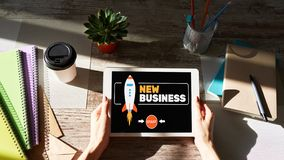 New business start up concept on screen. royalty free stock photo