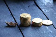 New business, startup concept. Golden coins stacks forming graph Stock Photography