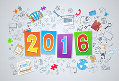2016 New Business Year Doodle Hand Draw. Sketch Concept Vector Illustration vector illustration