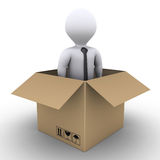 New businessman arrived. 3d businessman is inside of an opened carton box Stock Photography