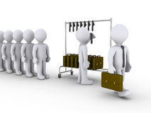 New businessmen are made. 3d people waiting in line to become businessmen Royalty Free Stock Images