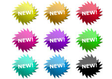 New Buttons. Many New Buttons with different colours Royalty Free Stock Photos