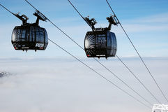 New cabines of modern cableway. Stock Photos