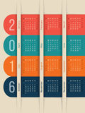 New calendar with color ribbons for year 2016. New calendar design with color ribbons for year 2016 Royalty Free Stock Images