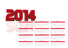 2014 calendar. New calendar year 2014 in English stock illustration