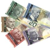 New Canadian currency. Five denominations of new Canadian currency Stock Photography