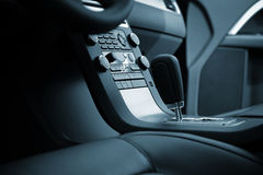 New car. Modern leather interior of the new car stock images