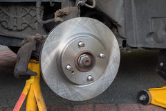 New Car Brake Disk  brake caliper removed Royalty Free Stock Photo
