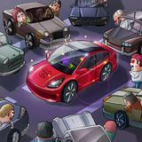 New Car Celebration. Realistic Caricature Cartoon Style. Video Game Digital CG Artwork, Concept Illustration Design vector illustration