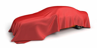 New car covered fabric. Isolated on white background Royalty Free Stock Photos