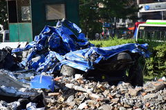 New car damage after earthquake disaster Royalty Free Stock Photos
