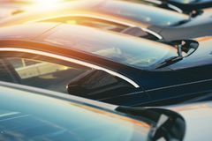 New Car Dealer Vehicles in Stock royalty free stock photo