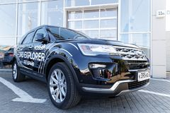 New car Ford Explorer. Ulyanovsk, Russia - September 23, 2018: New car Ford Explorer - exhibition car stands in front of the Ford car selling and service center royalty free stock image