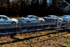 New car on a freight train Royalty Free Stock Photography