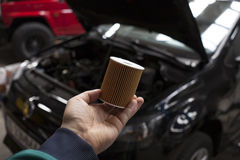 New car oil filter Royalty Free Stock Images