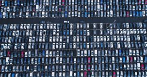New car park and truck. In aerial view Stock Photo