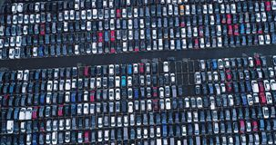 New car park and truck. In aerial view Royalty Free Stock Images