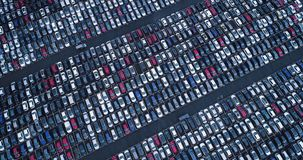 New car park and truck. In aerial view Royalty Free Stock Photo