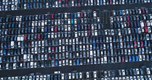 New car park and truck. In aerial view Royalty Free Stock Photos