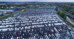 New car park and truck. In aerial view Royalty Free Stock Photography
