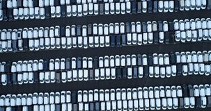 New car park and truck. In aerial view Stock Photography
