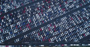 New car park and truck. In aerial view Stock Photos