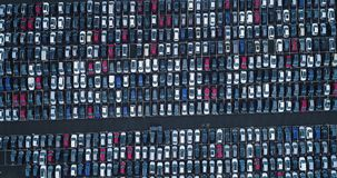 New car park and truck. In aerial view Stock Image