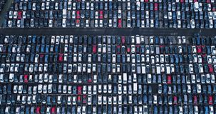 New car park and truck. In aerial view Royalty Free Stock Image