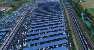 New car park and truck with solar panel. In aerial view Royalty Free Stock Photos